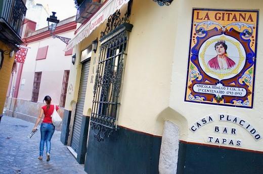 Bar Casa Placido,in 11 Ximenez de Enciso street, Santa Cruz Quarter,Sevilla,Andalucía,Spain : Stock Photo