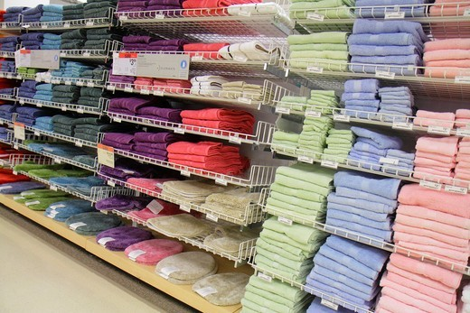 Stock Photo: 1566-898957 Florida, Miami, Aventura Mall, shopping, retail display, for sale, department store, Sears, bathroom towels,