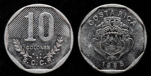 Stock Photo: 1566-899104 10 Colones coin, Costa Rica, 1985