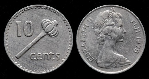 10 cents coin, Fiji, 1975 : Stock Photo
