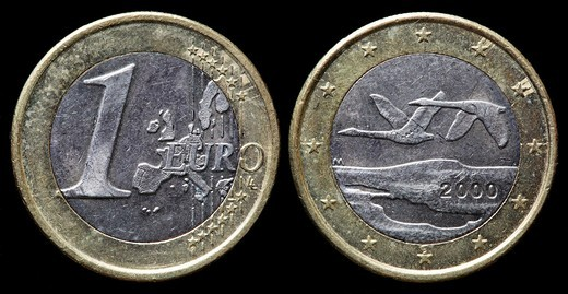 1 Euro coin, Finland, 2000 : Stock Photo