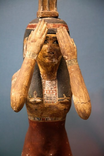 Female Statuette of female goddess mourning at British Museum : Stock Photo