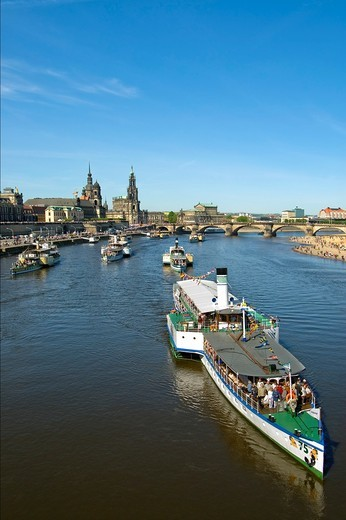 Annual steam ship parade on the Elbe River near the old town of Dresden in Germany : Stock Photo