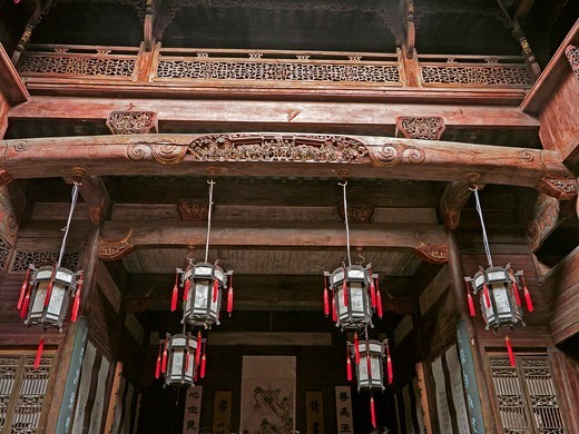 Chengzhi Hall was built in the 5th year of reign of Emperor Xianfeng of Qing Dynasty 1855 and covers an area of 2100 square meters  Bothe the front hall and the back hall bear the corridor structure of ´two stories and three rooms´ and it is composed of a. Chengzhi Hall was built in the 5th year of reign of Emperor Xianfeng of Qing Dynasty 1855 and covers an area of 2100 square meters  Bothe the front hall and the back hall bear the corridor structure of ´two stories and three rooms´ and it is c : Stock Photo
