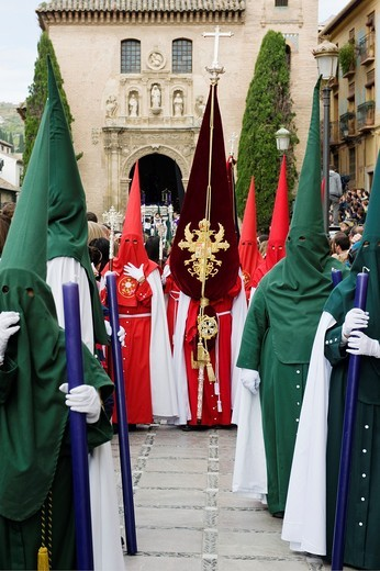 Stock Photo: 1566-900023 Nazarenos, member of a procession during Easter week, holy Tuesday, Granada, Andalusia, Spain