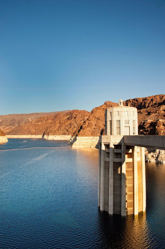 Hoover Dam and Lake Mead near Boulder City, Nevada : Stock Photo
