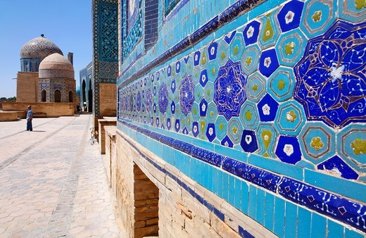 The Shah-i-Zindi, the avenue of mausoleums, Samarkand, Uzbekistan : Stock Photo