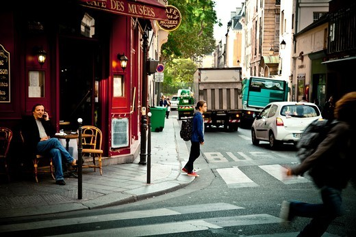 street scene in Le Marais, Ile de France, Paris, France : Stock Photo