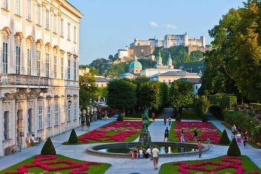 Stock Photo: 1566-901244 View of Hohensalzburg Castle with Mirabell Castle and Gardens in the foreground, Salzburg, Austria, Europe