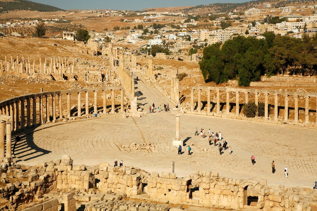 Stock Photo: 1566-901539 The Oval Forum, Jerash, Jordan