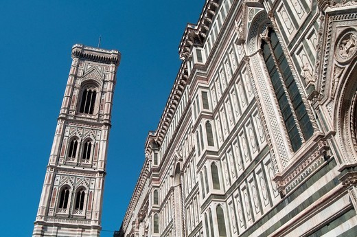 Italy, Tuscany, Florence, Santa Maria in Fiore Cathedral, Giotto Belfry : Stock Photo