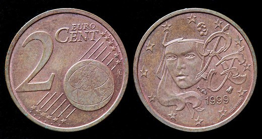 2 cent Euro coin, France, 1999 : Stock Photo