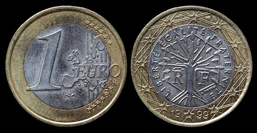 Stock Photo: 1566-901664 1 Euro coin, France, 1999