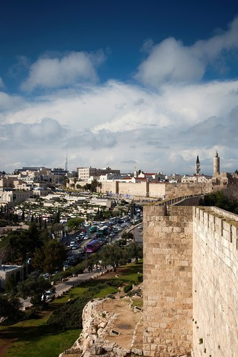 Israel, Jerusalem, Old City, view from the ramparts : Stock Photo