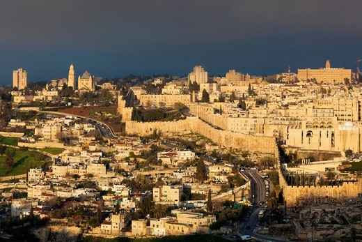 Israel, Jerusalem, elevated view of the Old City, dawn : Stock Photo