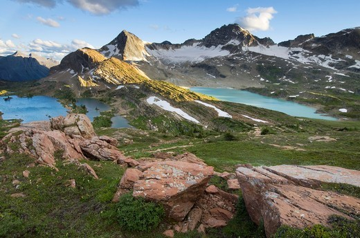 Russell Peak and Limestone Lakes Basin, Height-of-the-Rockies Provincial Park British Columbia Canada : Stock Photo