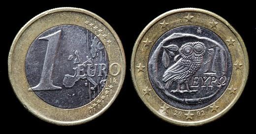 Stock Photo: 1566-902653 1 Euro coin, Greece, 2002