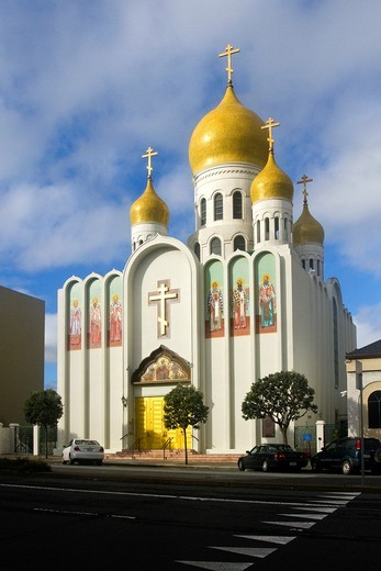 Russian Orthodox Church, Holy Virgin Cathedral, Geary Bouilevard, San Francisco, California, USA : Stock Photo