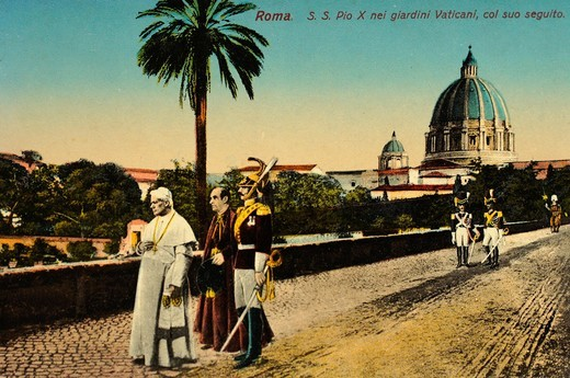 History-Italy-Vatican- Rome  ´S S  Pio X nei giadini Vaticani, col suo seguito´  Pope Saint Pius X Ecclesiastical Latin: Pius PP  X 2 June 1835 – 20 August 1914, born Giuseppe Melchiorre Sarto, was the 257th Pope of the Catholic Church, serving from 1903. History-Italy-Vatican- Rome  ´S S  Pio X nei giadini Vaticani, col suo seguito´  Pope Saint Pius X Ecclesiastical Latin: Pius PP  X 2 June 1835 – 20 August 1914, born Giuseppe Melchiorre Sarto, was the 257th Pope of the Catholic Church, serving : Stock Photo