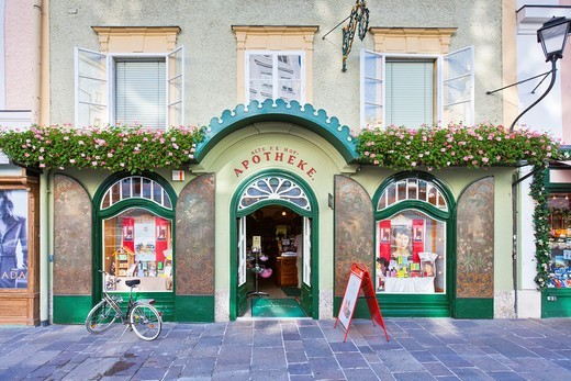 Old pharmacy at the Alter Markt square, Salzburg, Austria, Europe : Stock Photo