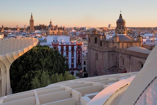 Stock Photo: 1566-903399 Top of Metropol Parasol, the cathedral and Asunción church,from Plaza de la Encarnación,Sevilla,Andalucía,Spain