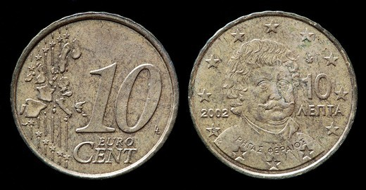 Stock Photo: 1566-903419 10 Euro cent coin, Greece, 2002