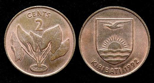 2 cents coin, Kiribati, 1992 : Stock Photo