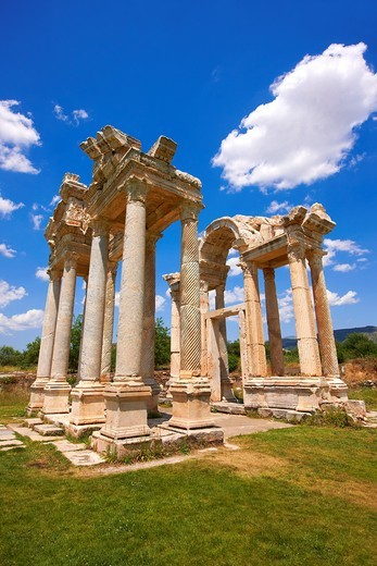 Stock Photo: 1566-903515 Picture of the double Tetrapylon Gate 2, Aphrodisias, Turkey  A tetrapylon Greek: etp, ´four gates´ is an ancient type of Roman monument of cubic shape, with a gate on each of the four sides: generally it was built on a crossroads  stock photos & photo ar. Picture of the double Tetrapylon Gate 2, Aphrodisias, Turkey  A tetrapylon Greek: etp, ´four gates´ is an ancient type of Roman monument of cubic shape, with a gate on each of the four sides: generally it was built on a crossroads  stock photo
