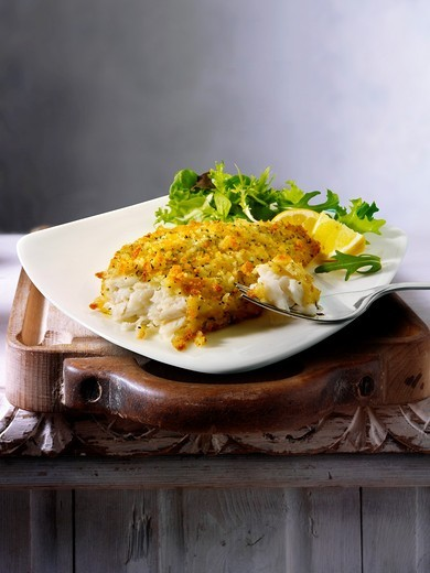 British Food - Lightly Battered Sole : Stock Photo