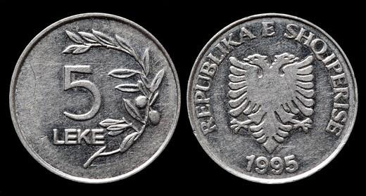 5 Leke coin, Albania, 1995 : Stock Photo