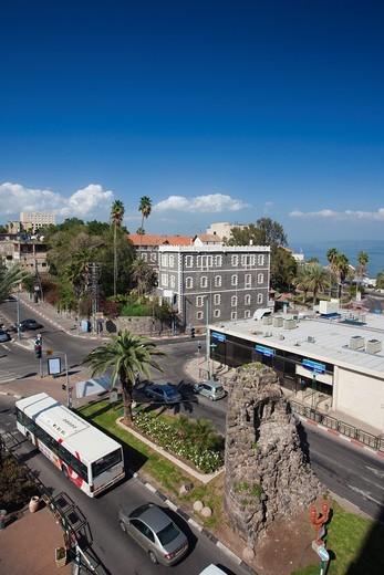 Israel, The Galilee, Tiberias, elevated view over HaBanim Street : Stock Photo