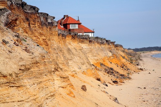 Stock Photo: 1566-904002 House on cliff top subsequently demolished in March 2011 because of coastal erosion, Easton Bavents, Suffolk, England
