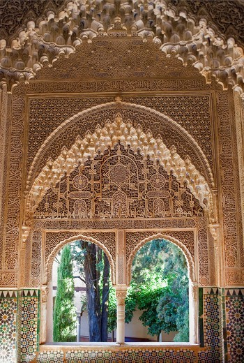 Stock Photo: 1566-904005 Daraxa or Lindaraja viewpoint,mirador de Daraxa o Lindáraja, in Ajimeces hall, Palace of the Lions, Nazaries palaces, Alhambra, Granada Andalusia, Spain