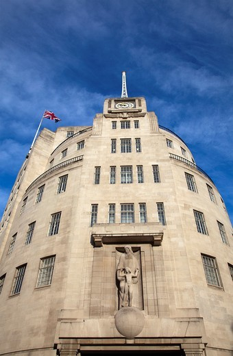 BBC Broadcasting House building on Langham Place in London - UK : Stock Photo