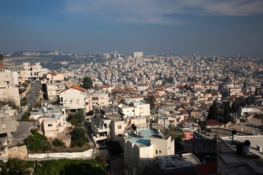 Israel, The Galilee, Nazareth, elevated city view : Stock Photo
