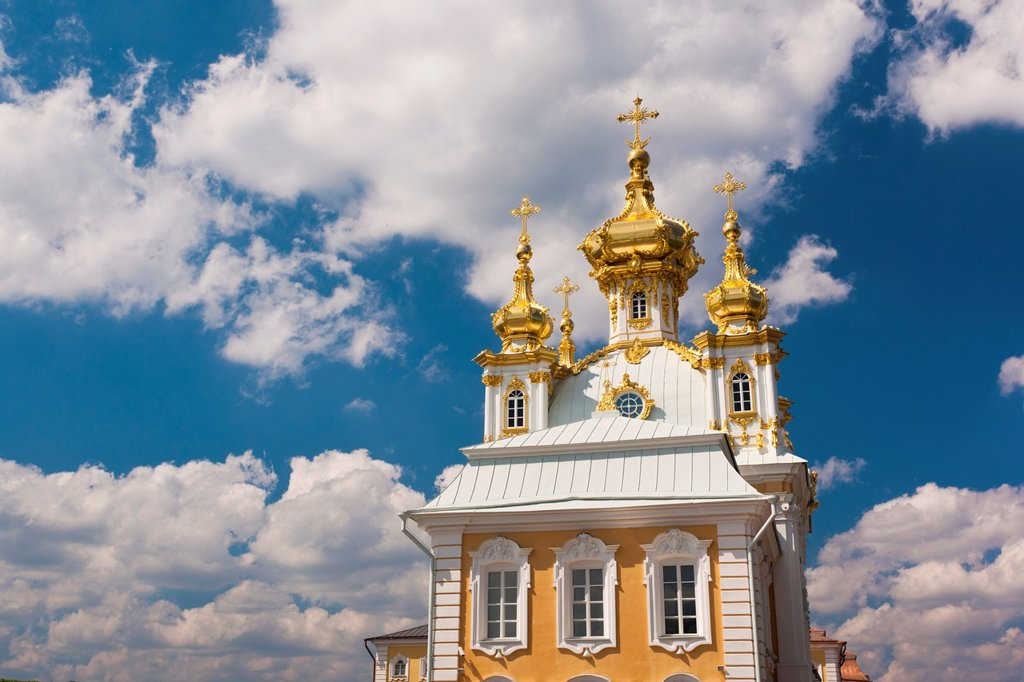 Russia, Saint Petersburg, Peterhof, Grand Palace, chapel wing : Stock Photo
