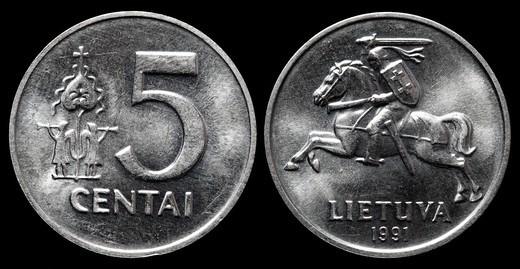 5 centai coin, Lithuania, 1991 : Stock Photo