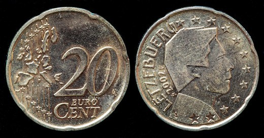 20 Euro cent coin, Luxembourg, 2002 : Stock Photo
