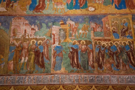 Stock Photo: 1566-905200 Russia, Vladimir Oblast, Golden Ring, Suzdal, Saviour Monastery of Saint Euthymius, Cathedral of the Transfiguration of the Saviour, interior frescoes from 1689
