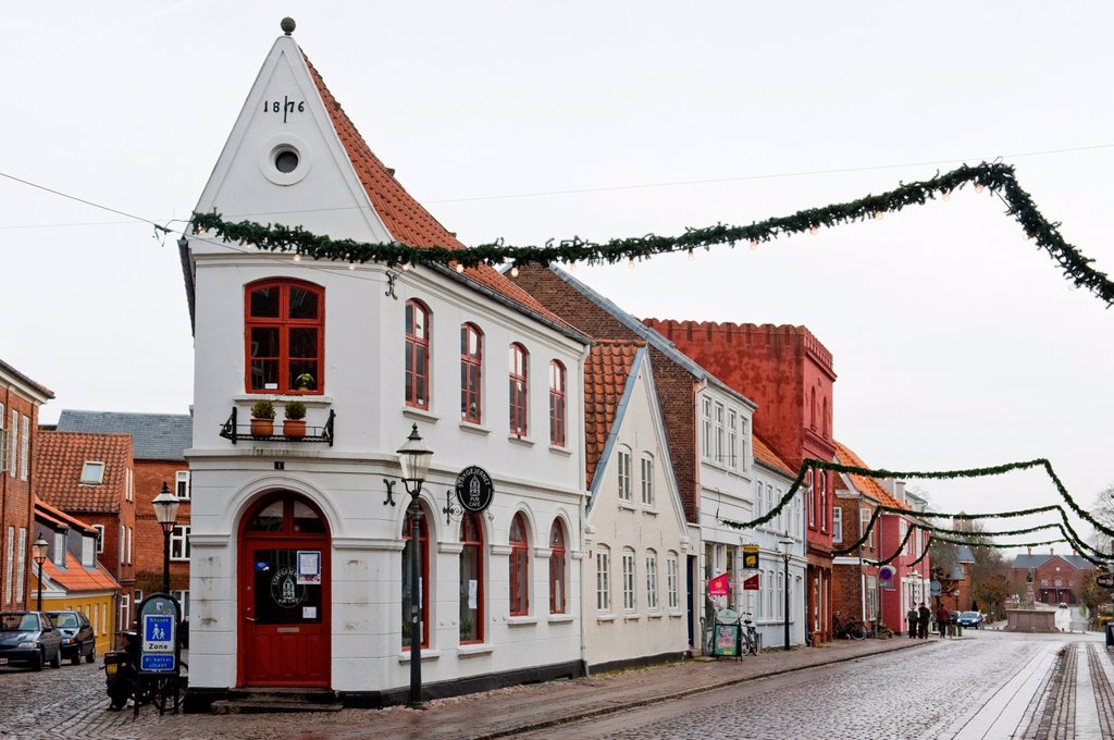 Stock Photo: 1566-905259 Building from 19th century in the old town of Ribe, oldest city of Denmark