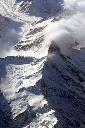 View of Alps mountains from air plane : Stock Photo