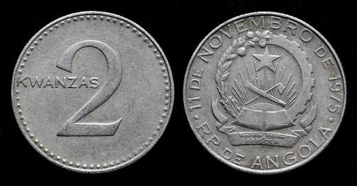2 Kwanzas coin, Angola, 1975 : Stock Photo