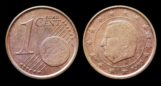 1 euro cent coin, Belgium, 1999 : Stock Photo
