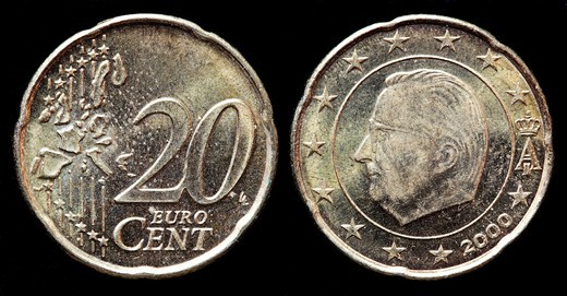 Stock Photo: 1566-905406 20 euro cent coin, Belgium, 2000