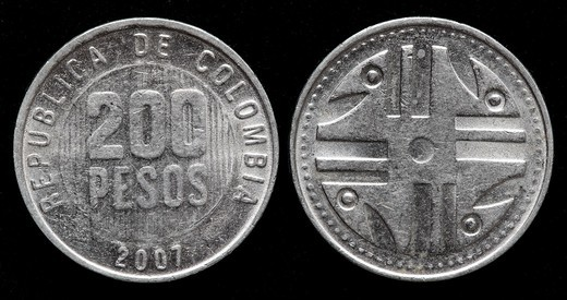 200 pesos coin, Colombia, 2007 : Stock Photo