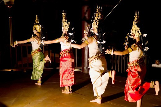 Stock Photo: 1566-905420 Apsara dancers performing a traditional dance, Siem Reap,Cambodia