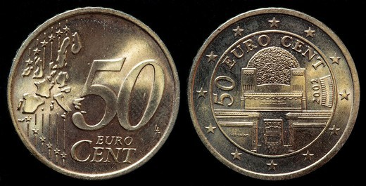 Stock Photo: 1566-905775 50 euro cent coin, Austria, 2002