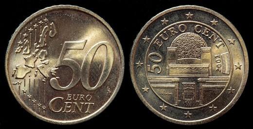 50 euro cent coin, Austria, 2002 : Stock Photo