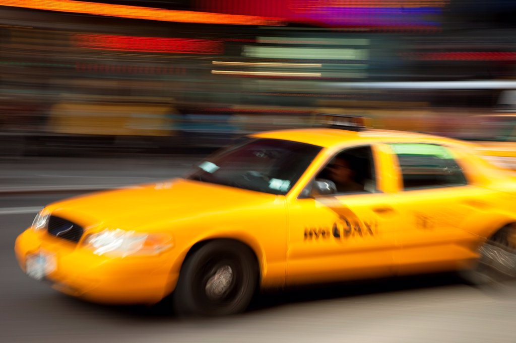 Stock Photo: 1566-905847 Taxi Cab on Broadway at Times Square in Manhattan, New York City USA