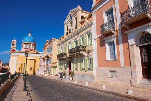 The Neo Classic buildings & Greek OrthodoxChurchof Saint Nicholas, Ermoupolis, Syros, Greek Cyclades Islands : Stock Photo